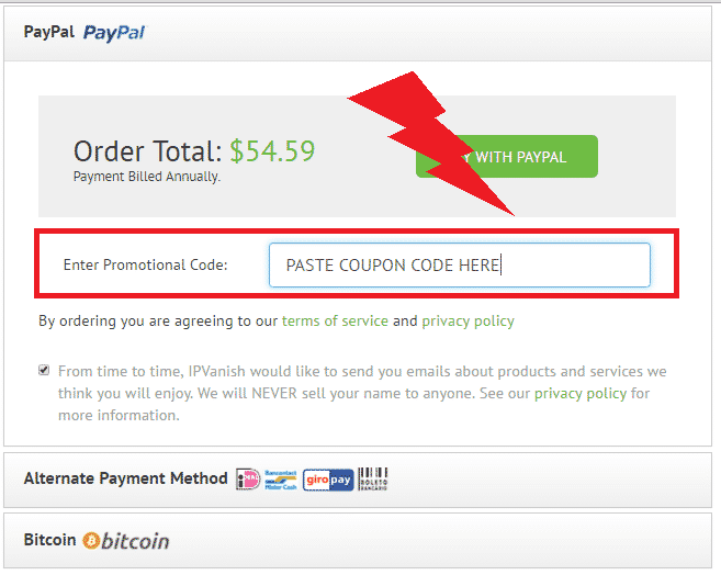 ipvanish coupon code input